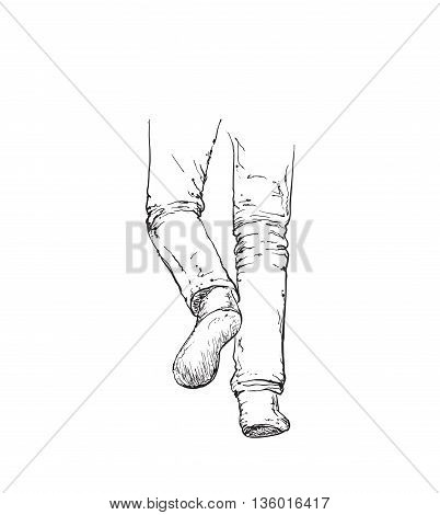 Hand Drawn Illustration of Somebody's foot. Pants sketch