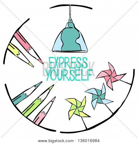 Express Yourself. Frame: pencil, lamp. Isolated vector object on white background.