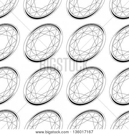Seamless pattern with contour diamonds. Dark and white color. Endless texture for your design, romantic greeting cards, announcements, fabrics.