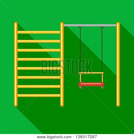 Yellow ladder and swing on a playground icon in flat style on a green background