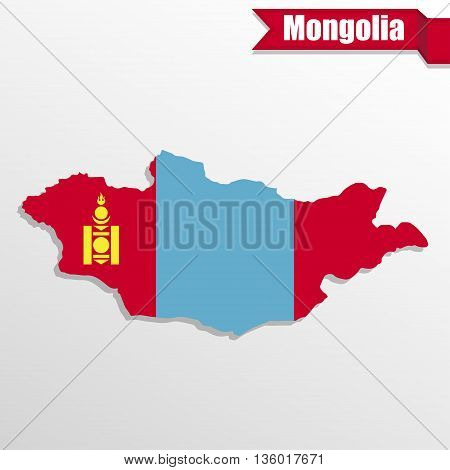 Mongolia map with flag inside and ribbon