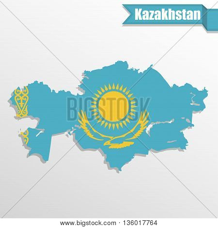 Kazakhstan map with flag inside and ribbon