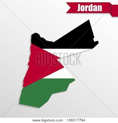 Jordan map with flag inside and ribbon