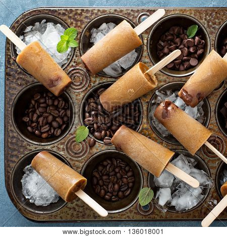 Coffee and cream popsicles with Irish cream and chocolate fudge