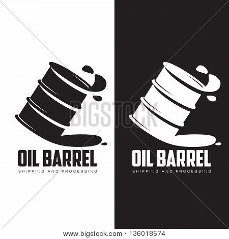 barrel of black oil, vector illustration contour isolated on white background, logo black barrel of oil, petroleum products, transportation of oil in barrels