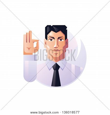 Vector young male, businessman. Isolated vector illustration.