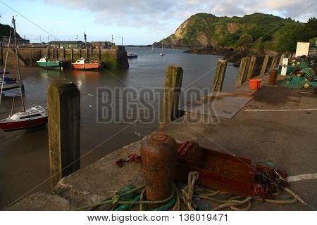 The little working harbour of Ilfracombe in North Devon
