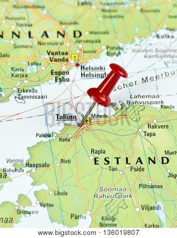 Map with pin set on Talinn, Estonia.