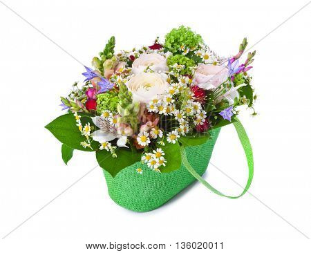 Flowers bouquet isolated on white background