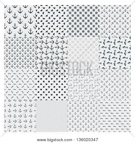 Big cute light collection vector monochrome marine seamless pattern. For background wrappers wallpaper paper and printing on fabrics. Vector on white back.