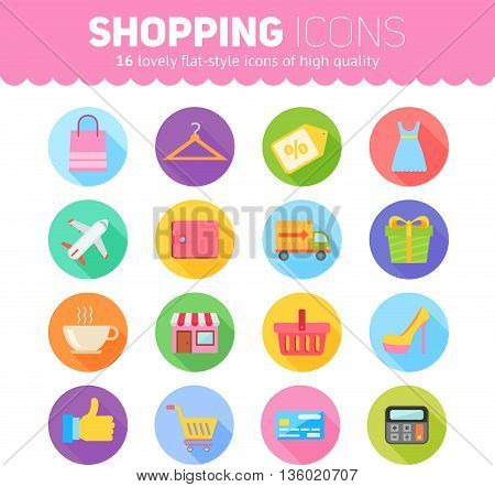 Flat Shopping Icons Pack For Business Marketing
