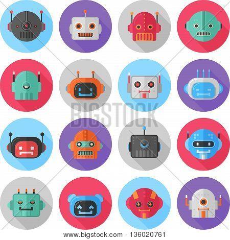 A Set Of Cartoon Flat Robot Icons