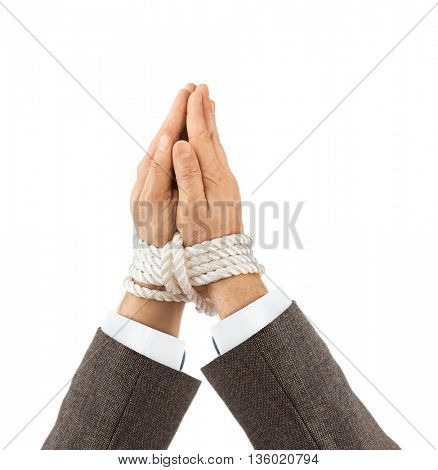 Bound praying hands isolated on white background