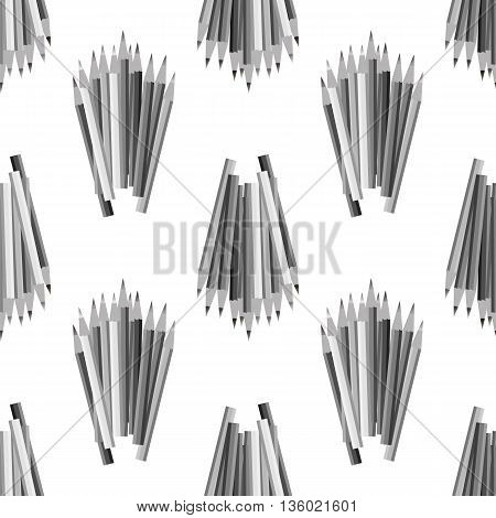 Grey Pencils Isolated on White Background. Grey Pencils Seamless Pattern