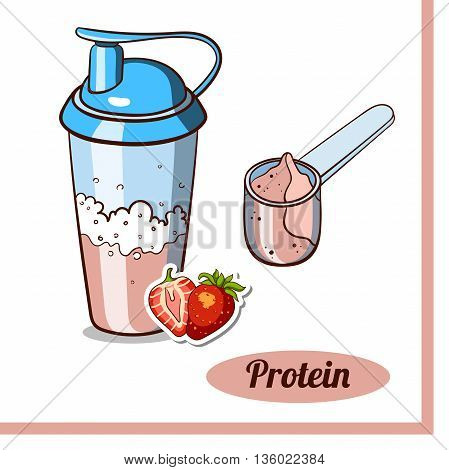 Sport nutrition. Scoop and protein shaker isolated on white background. Strawberry protein powder. Vector illustration.