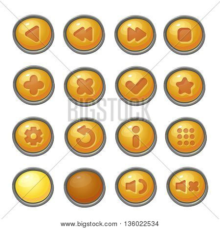 Set of red buttons, game icons for interface