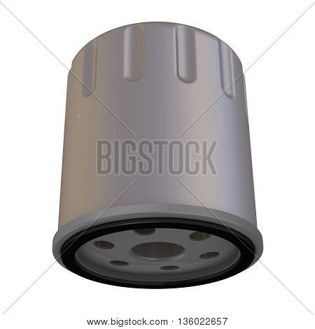 Oil filter of the internal combustion engine. Isolated. 3D Illustration