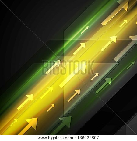 Glowing yellow and green hi-tech background with arrows. Vector template design