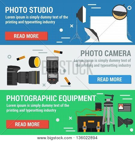 Vector horizontal banners photographic equpment. Photo camera, photographic accessories, lighting for studio. Flat style with buttons read more