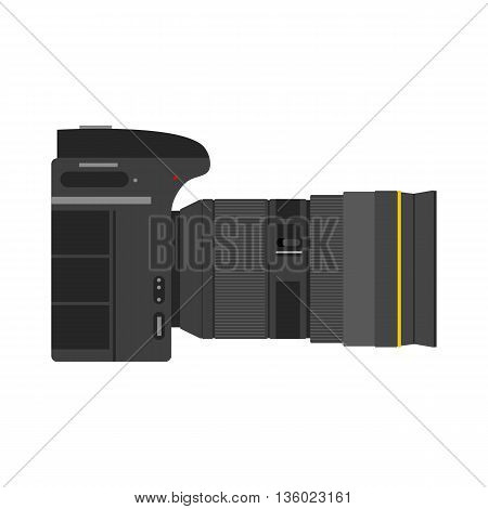 Vector photographic equipment - photo camera with zoom lens. Isolated on white in flat style