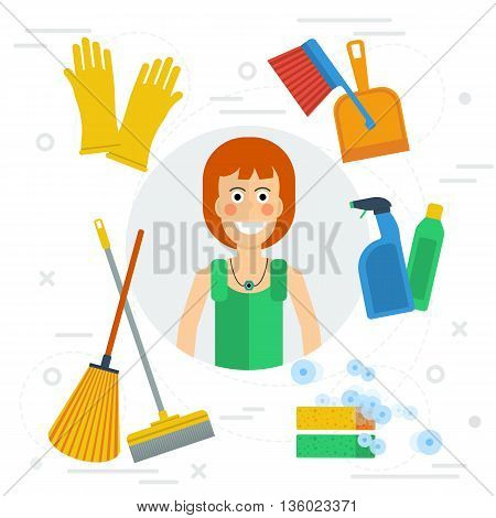 Vector cleaning lady concept in flat style. Happy girl with various cleaning items - mop, soap, gloves. Concept office cleaning, cleaning service and cleaning products.
