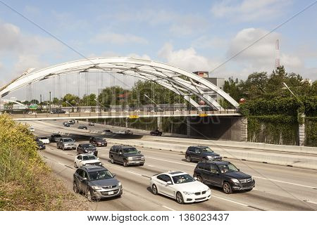 HOUSTON USA - APR 14: Rush hour traffic on the highway in the city of Houston. April 14 2016 in Houston Texas United States