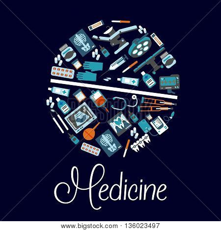 Dentistry and surgery, therapy and pharmaceutical symbols arranged into a shape of a pill with flat icons of dentist chair and instruments, medicines and stethoscope, operation table and blood bag, ecg and ultrasound monitors, x ray scans, crutches and en