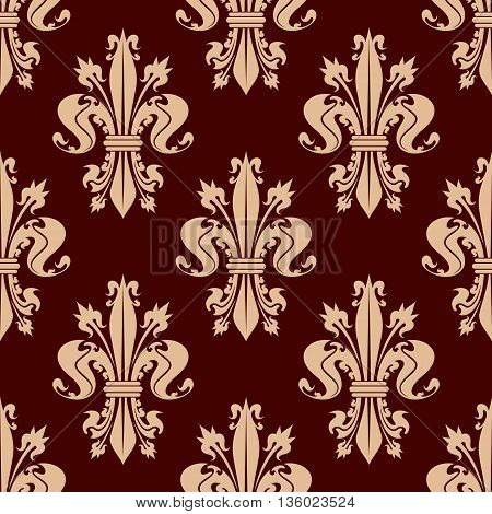 Delicate beige fleur-de-lis floral seamless pattern of french heraldic lilies with ornamental leaves and flower buds on reddish brown background. Use as medieval monarchy theme or interior design