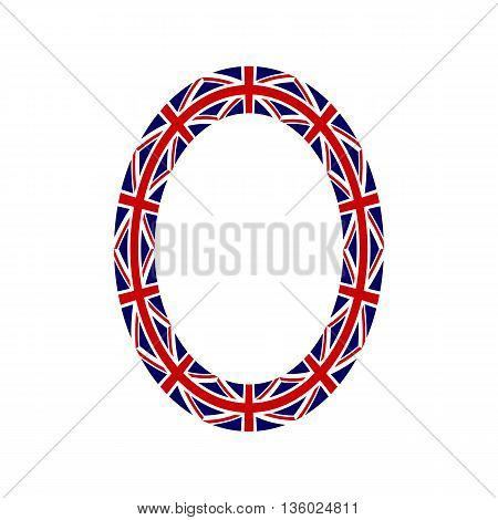 Letter O made from United Kingdom flags on white background