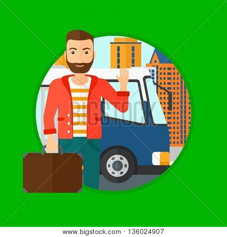 A hipster man with the beard standing at the entrance door of a bus on a city background. Young man waving in front of a bus. Vector flat design illustration in the circle isolated on background.