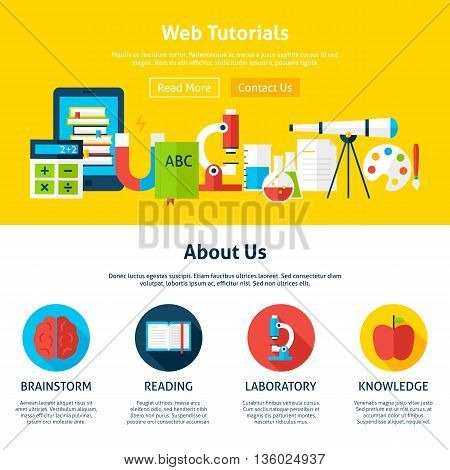 Web Tutorials Flat Web Design Template