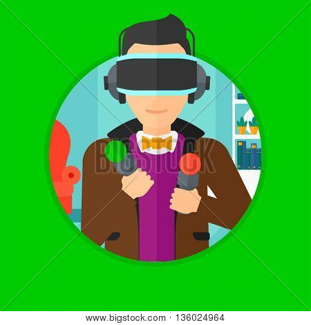 Young man wearing a virtual relaity headset and holding motion controllers in hands. Man playing video games in apartment. Vector flat design illustration in the circle isolated on background.