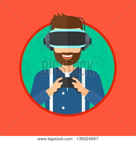 A hipster man with the beard wearing a virtual relaity headset. Young man playing video game with game controller in hands. Vector flat design illustration in the circle isolated on background.