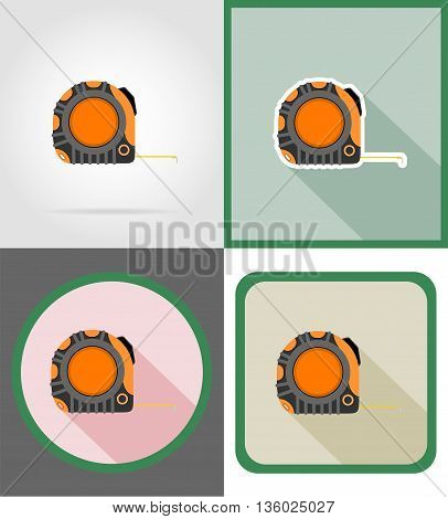 roulette repair and building tools flat icons vector illustration isolated on white background