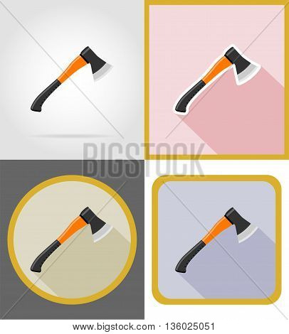 ax repair and building tools flat icons vector illustration isolated on white background