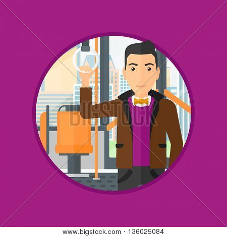 Man traveling by public transport. Young man standing inside public transport. Man traveling by passenger bus or subway. Vector flat design illustration in the circle isolated on background.