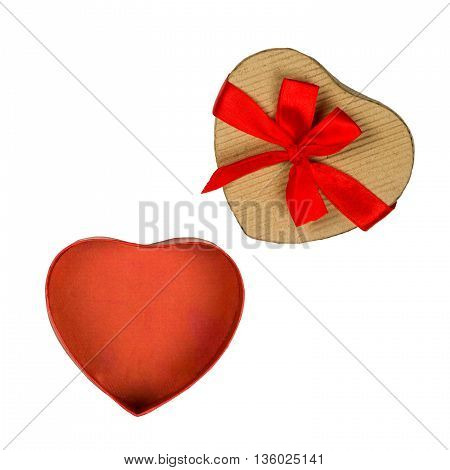Opened cardboard gift box with red bow, heart shaped, isolated on white.