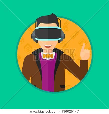 Young man wearing a virtual relaity headset. Man in a virtual relaity headset pointing a forefinger up while playing video game. Vector flat design illustration in the circle isolated on background.