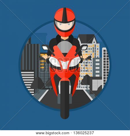 Young woman in helmet riding a motorcycle on the background of night city. Woman driving a motorbike on a city road. Vector flat design illustration in the circle isolated on background.