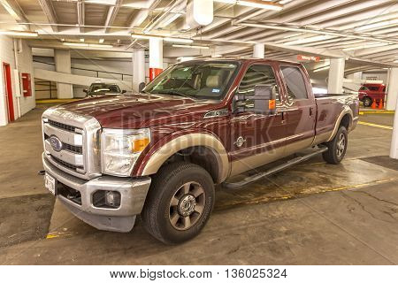 HOUSTON USA - APR 14: Ford F-350 super duty pickup truck in a parking garage. April 14 2016 in Houston Texas United States