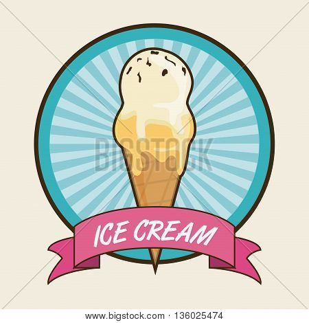 Dessert concept represented by vintage ice cream icon over seal stamp and ribbon. Colorfull and flat illustration