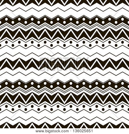 Abstract seamless black and white pattern with ethnic motifs. Cute contrast graphic print of horizontal zigzags and circles. Vector illustration for fabric, paper and other