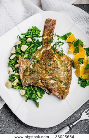 Grilled Flounder With Spinach And Orange Salsa With Fresh Mint