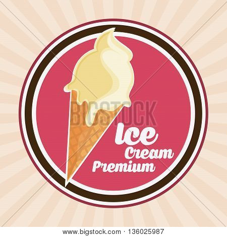 Dessert concept represented by vintage ice cream over seal stamp icon. Colorfull and flat illustration