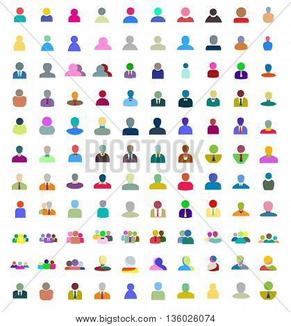 Icons set of creative people design flat elements. Modern vector logo collection concept.