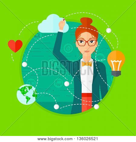Woman writing on a virtual screen. Business woman drawing a cloud computing diagram on a virtual screen. Cloud computing concept. Vector flat design illustration in the circle isolated on background.