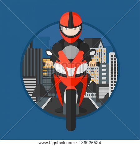 Young man in helmet riding a motorcycle on the background of night city. Man driving a motorbike on a city road. Vector flat design illustration in the circle isolated on background.