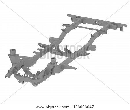 Carrying frame of the vehicle. Isolated. 3D Illustration