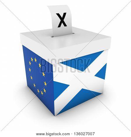 Scottish Eu Referendum Ballot Box With Flags 3D Illustration