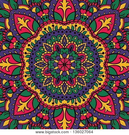 Childish bright pattern of mandalas. Vector colorful background. Template for textile carpet shawls box CD DVD cover music plate.